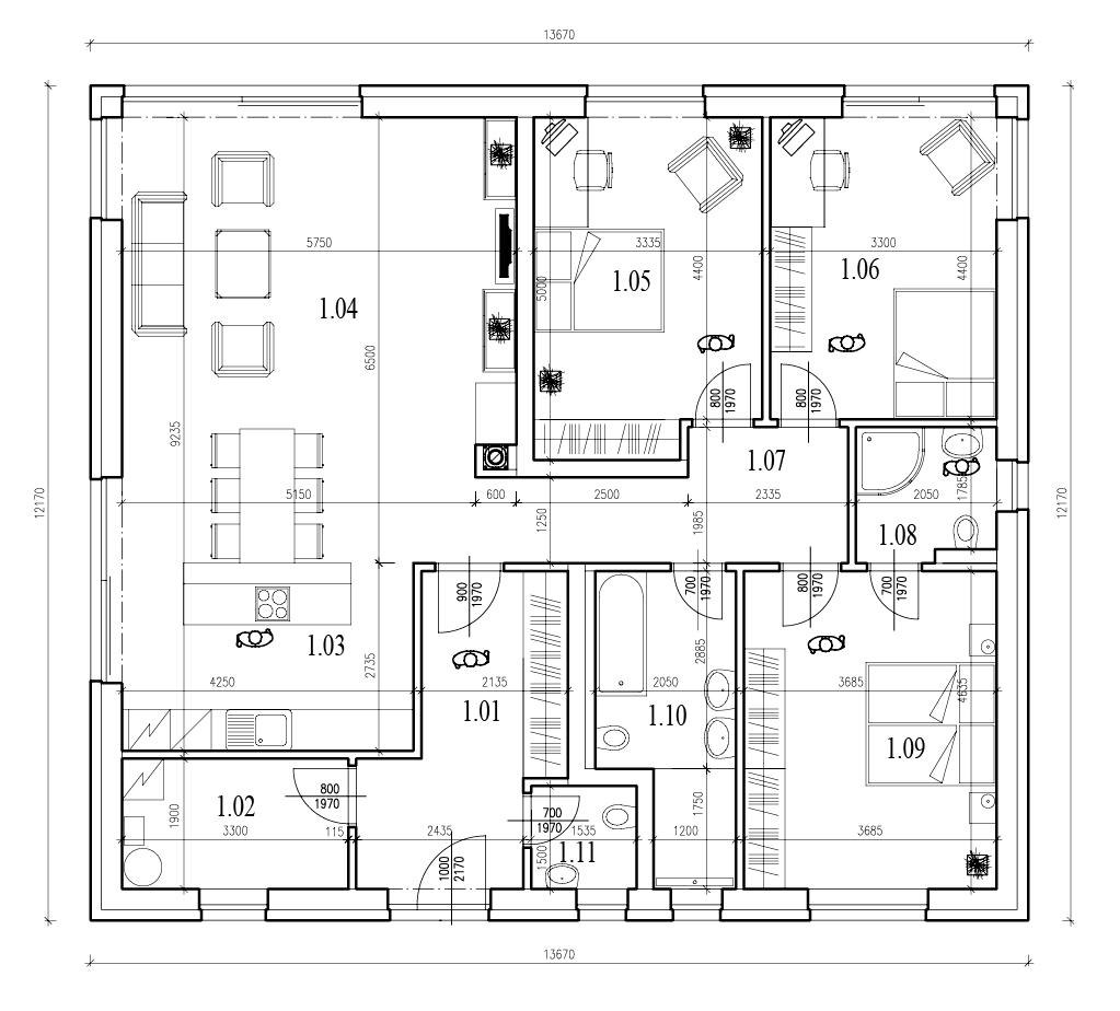 půdorys místností 1. patro